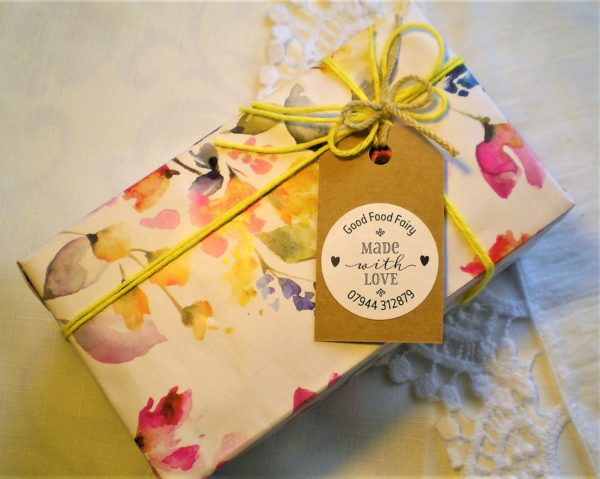 Frosted carrot cake gift wrapped